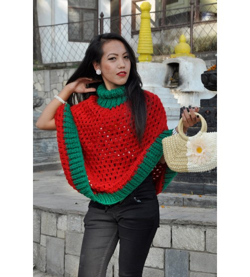 CHERRY LONG PONCHO TURTLE NECK