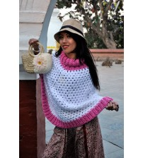 FlAKE LONG PONCHO TURTLE NECK