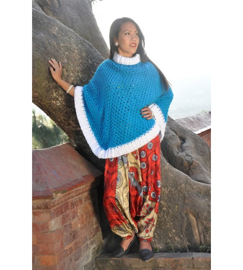 SKY LONG PONCHO TURTLE NECK